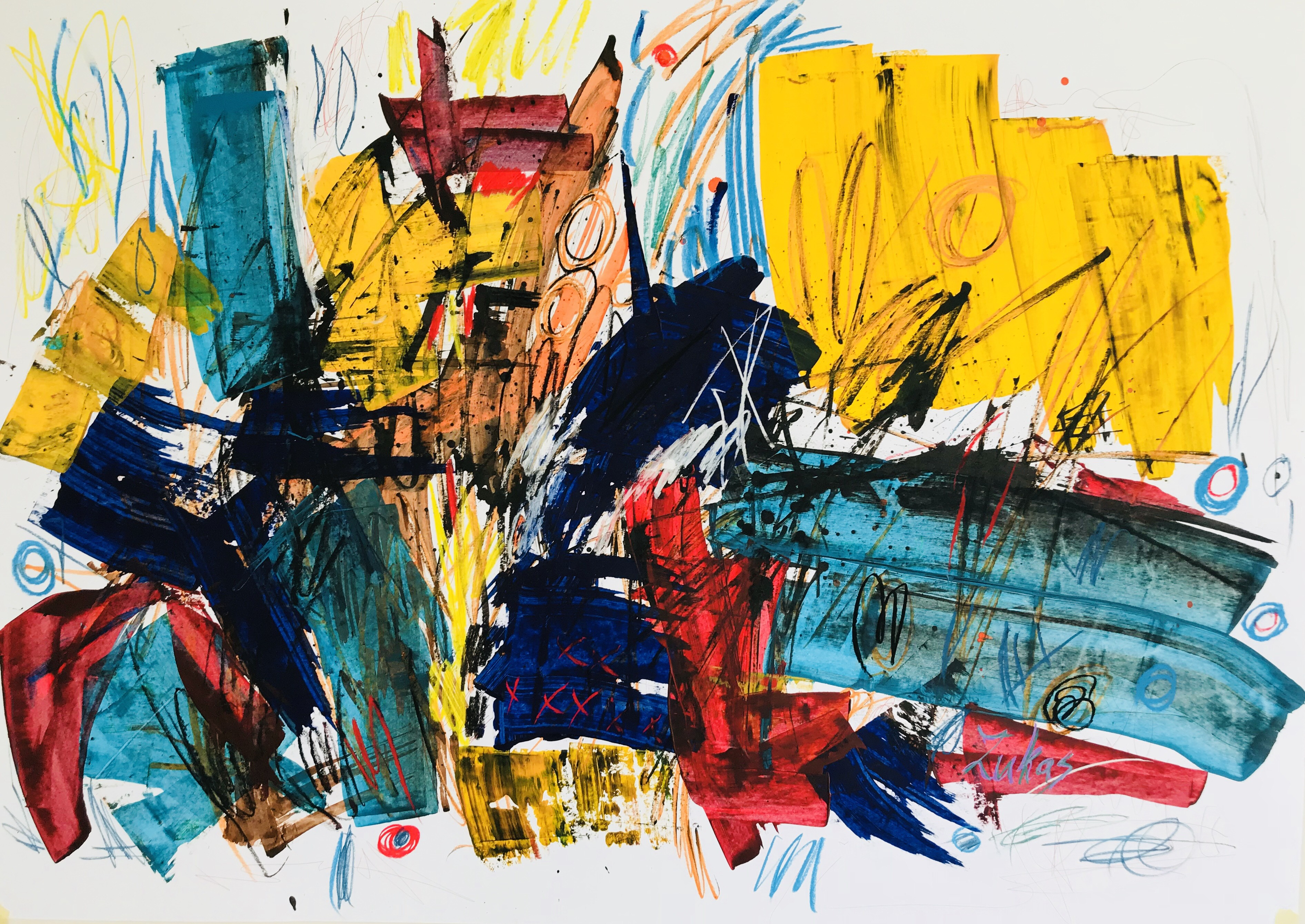 Composition. Untitled. Mixed media on paper. 70×100 cm.