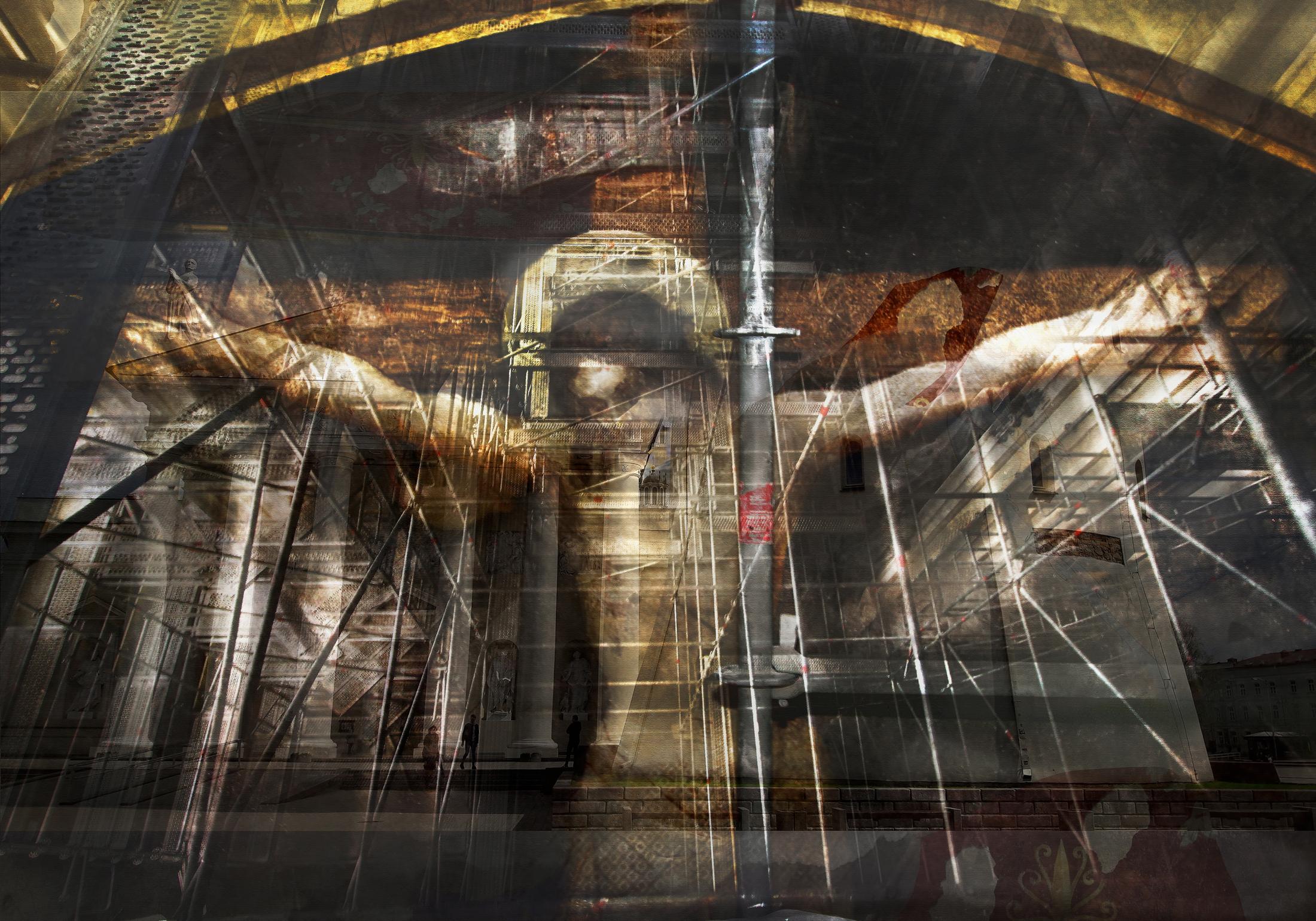 Daumantas Pilipavicius. Crucifix, 2019, 70x100cm., photo print, aluminum plate
