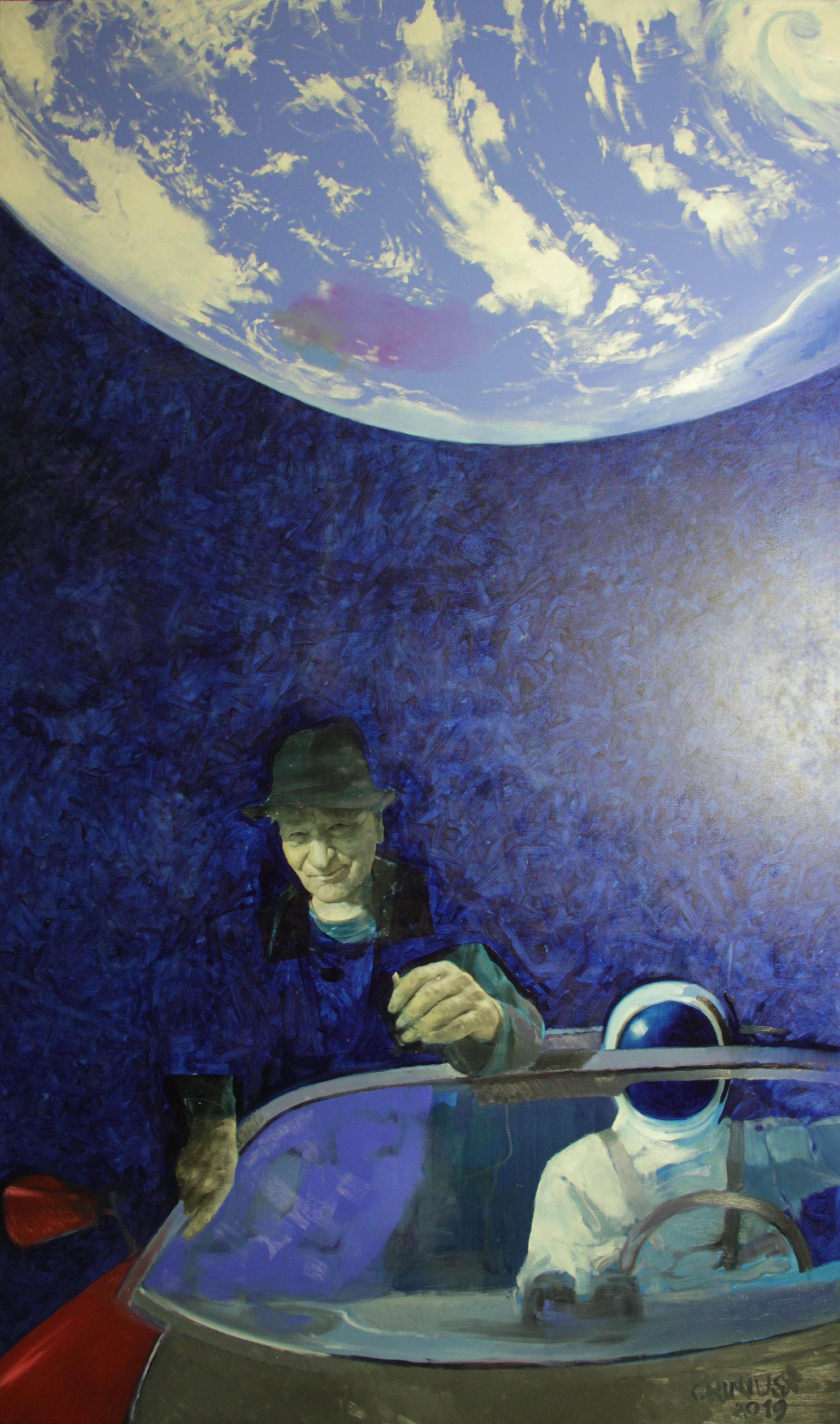 Evaldas Grinius. Naujoji Jono Meko dimensija. 2019. Drobė, aliejus.. 250 x 150 cm
