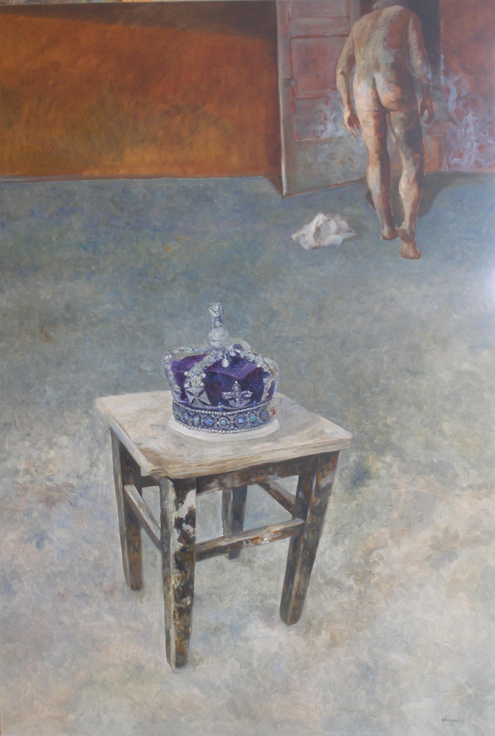 """Vytautas Žirgulis """"Nuogas karalius"""" Drb.,al.,141×96 cm. 2015m."""