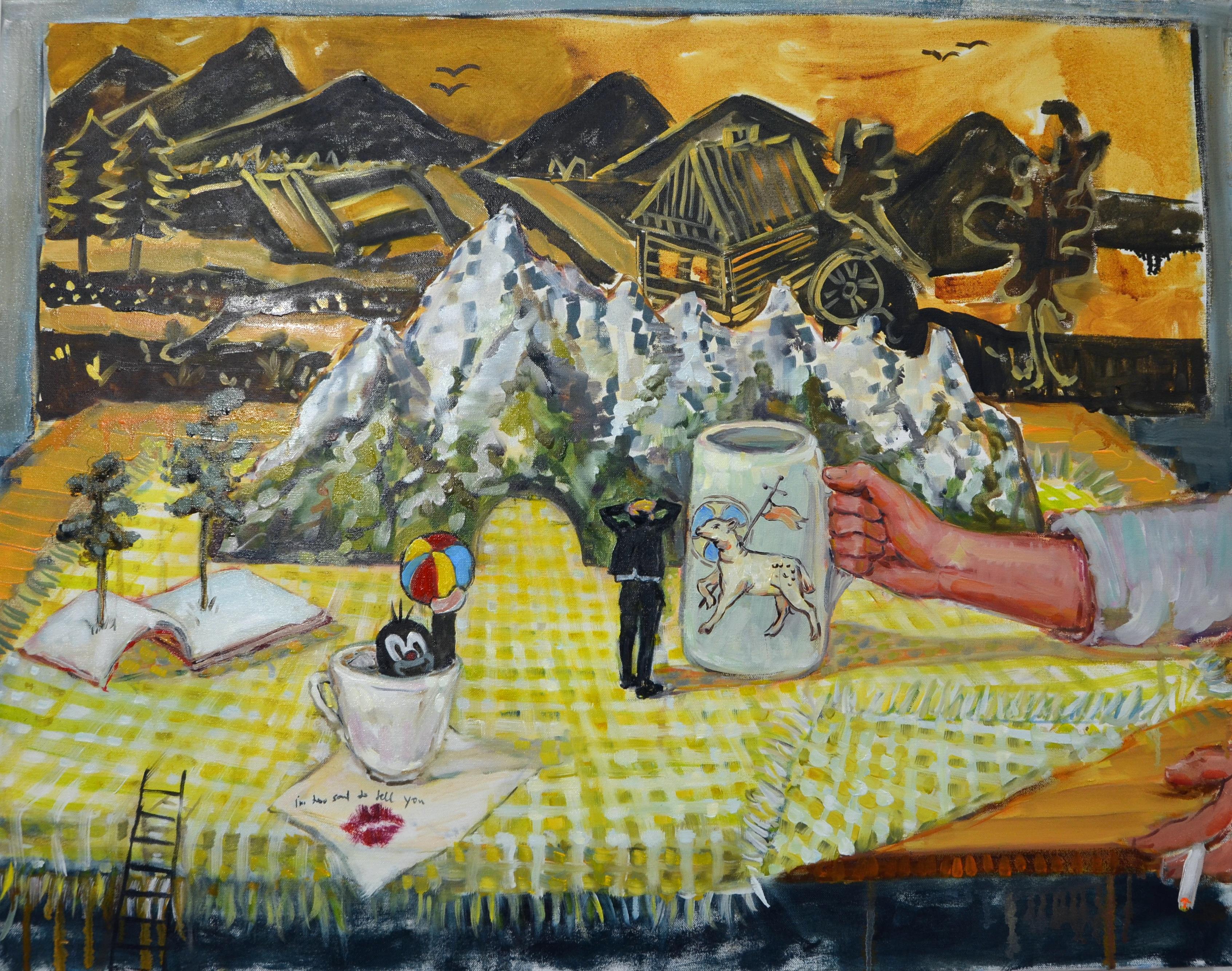 Natural Histories. Landscape at the table (Natūralios istorijos. Peizažas už stalo)_70x90_Aliejus ant drobės_2017300